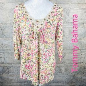 Tommy Bahama Floral Embroidered Studded Tunic Top